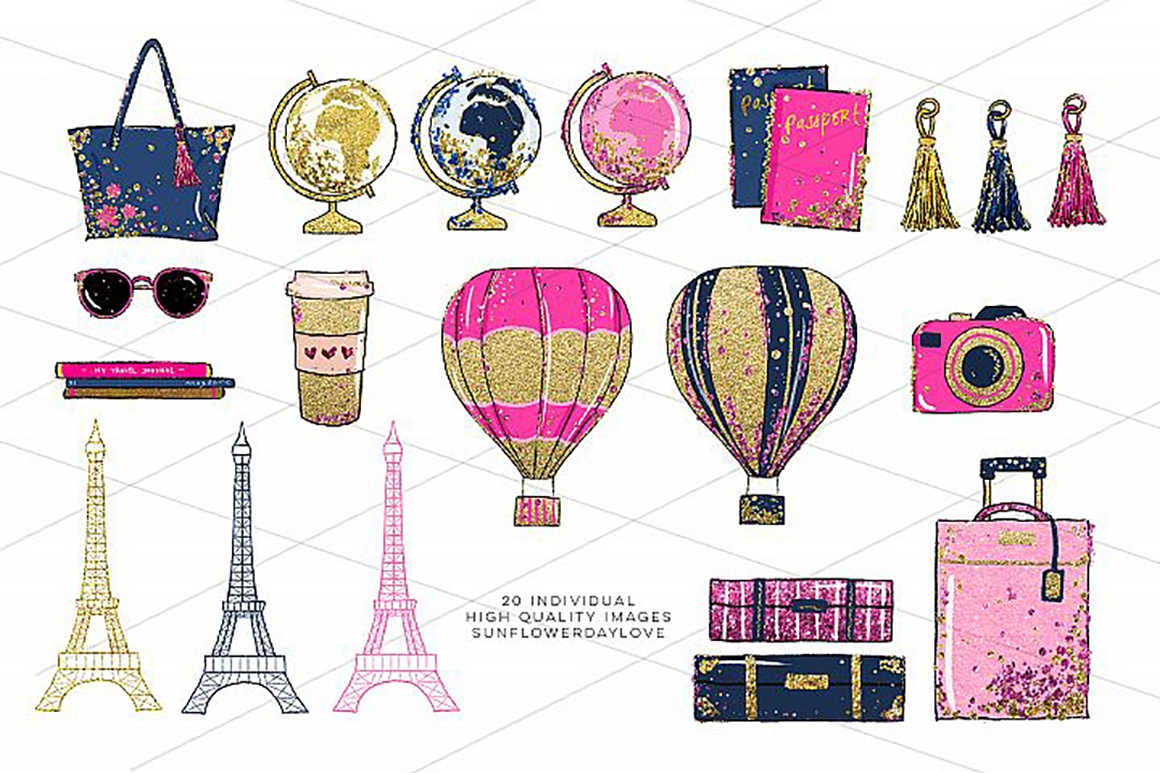 Glam clipart picture free Glam Adventure Travel Clipart, Travel Fashion Clipart - Vsual picture free