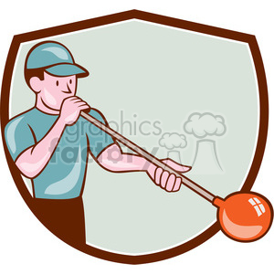 glass blower blowing front SHIELD clipart. Royalty-free clipart # 394411 clipart royalty free stock