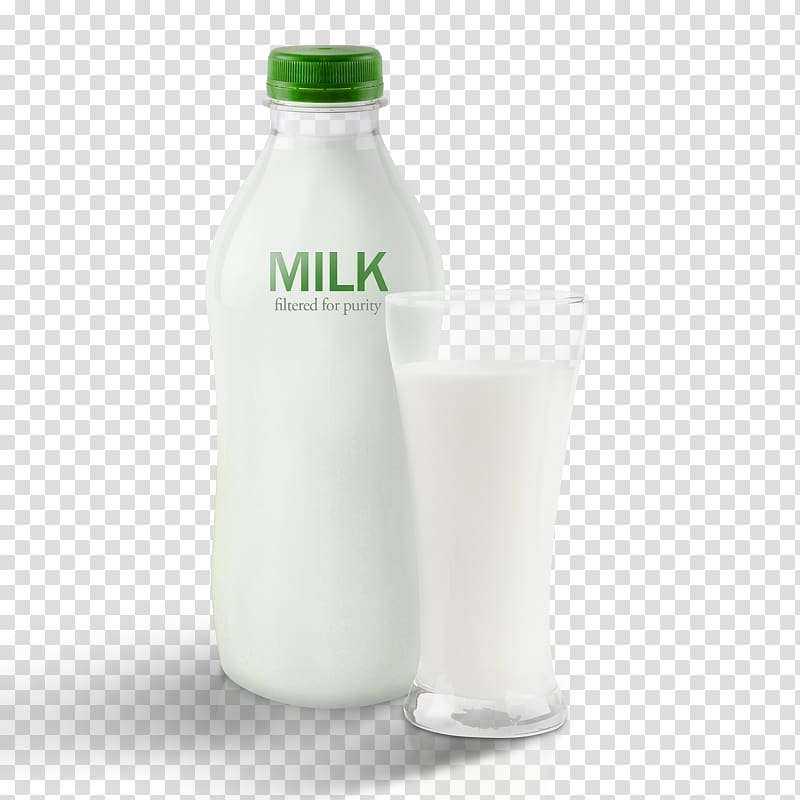 Glass bottle of milk clipart with straw image free Milk bottle beside drinking glass filled with milk illustration ... image free