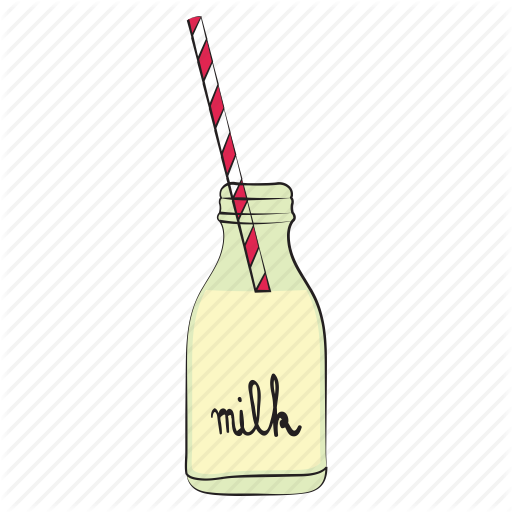 Glass bottle of milk clipart with straw picture stock \'Breakfast Retro Vector Set\' by Iulia Ardeleanu picture stock