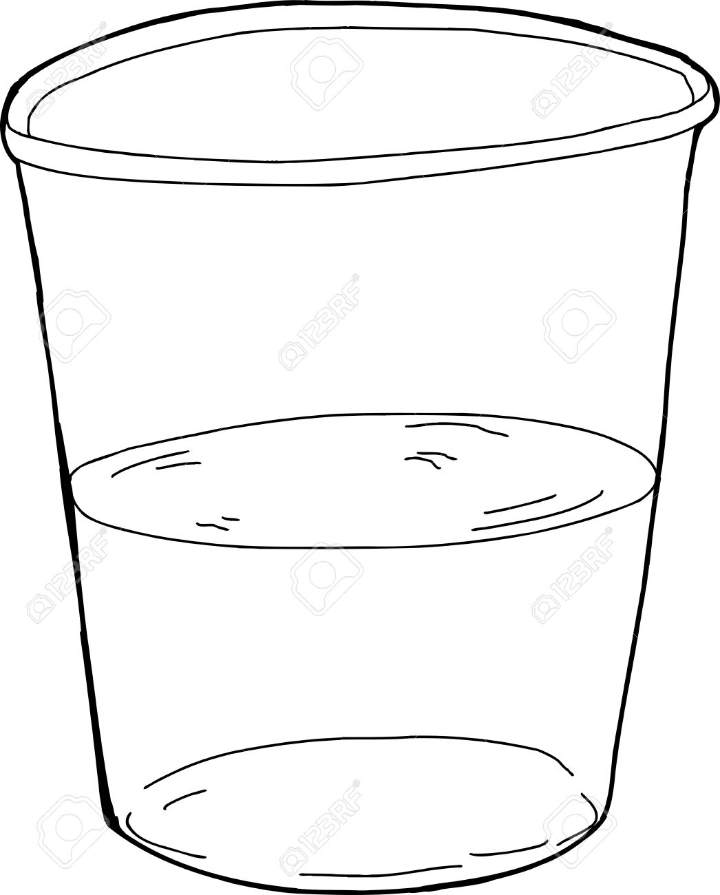 Glass half full clipart black and white vector library library Outlined Half Full Cup » Clipart Station vector library library