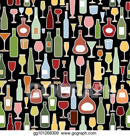 Glass tile clipart graphic library library Clipart - Wine bottle, wine glass tile pattern. drink wine party ... graphic library library