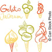 Glato sketch clipart banner royalty free stock Gelato ice cream wafer cone sketch vector icon for italian gelateria ... banner royalty free stock