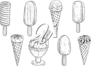 Glato sketch clipart svg black and white download Ice cream sketch. Isolated vector ice cream scoops in glass bowl ... svg black and white download
