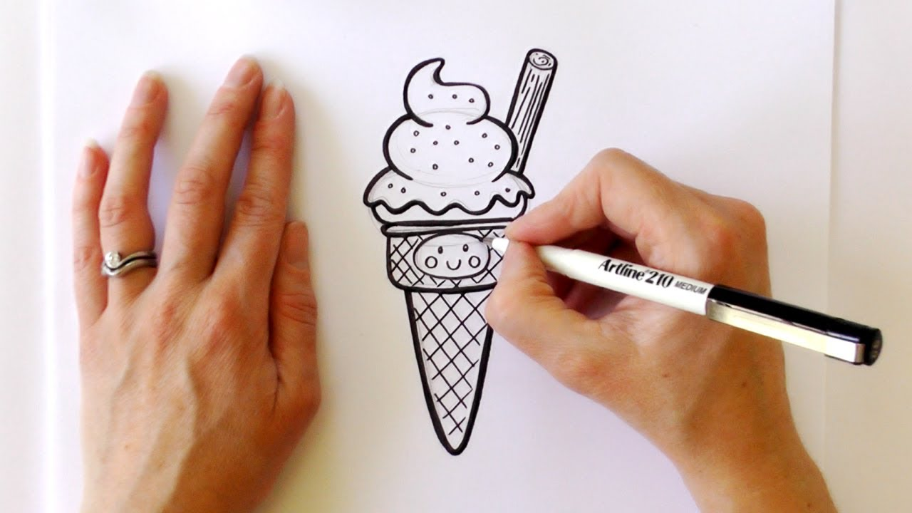 Glato sketch clipart clipart freeuse stock How to Draw a Cartoon Ice Cream Cone clipart freeuse stock