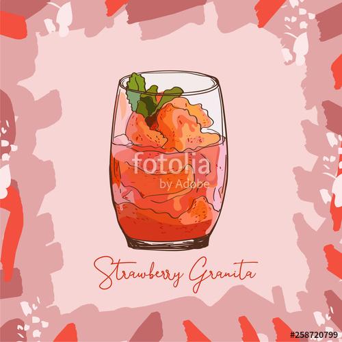 Glato sketch clipart banner transparent stock Fresh Strawberry Granita Sorbet Gelato sketch style image. Hand ... banner transparent stock