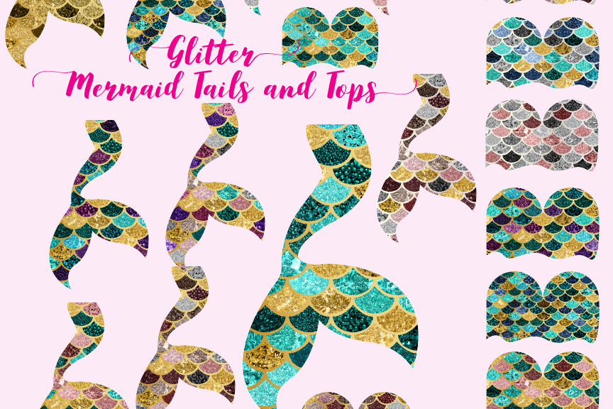 Glitter mermaid clipart clip free library Glitter Mermaid tails and tops clip free library