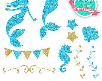 Glitter mermaid clipart clipart stock Gold and Blue Beautiful Ocean, Mermaid Clip Art, Cute Glitter ... clipart stock