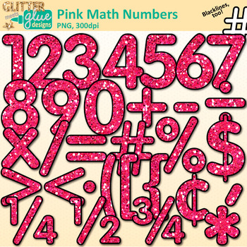 Glitter numbers clipart vector library library Pink Glitter Math Numbers Clip Art {Glitter Meets Glue} vector library library