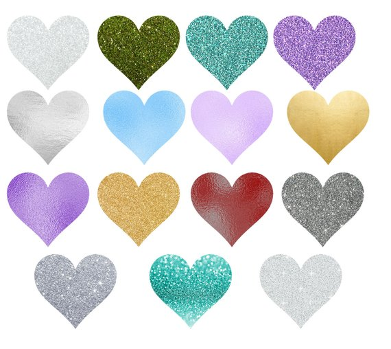 Glittery gold heart clipart clipart freeuse library Hearts Glitter and Foil Clipart, glitter heart clip art, silver ... clipart freeuse library