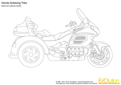 Glodwing trike black and white clipart picture black and white download Honda Goldwing Trike vector drawing picture black and white download