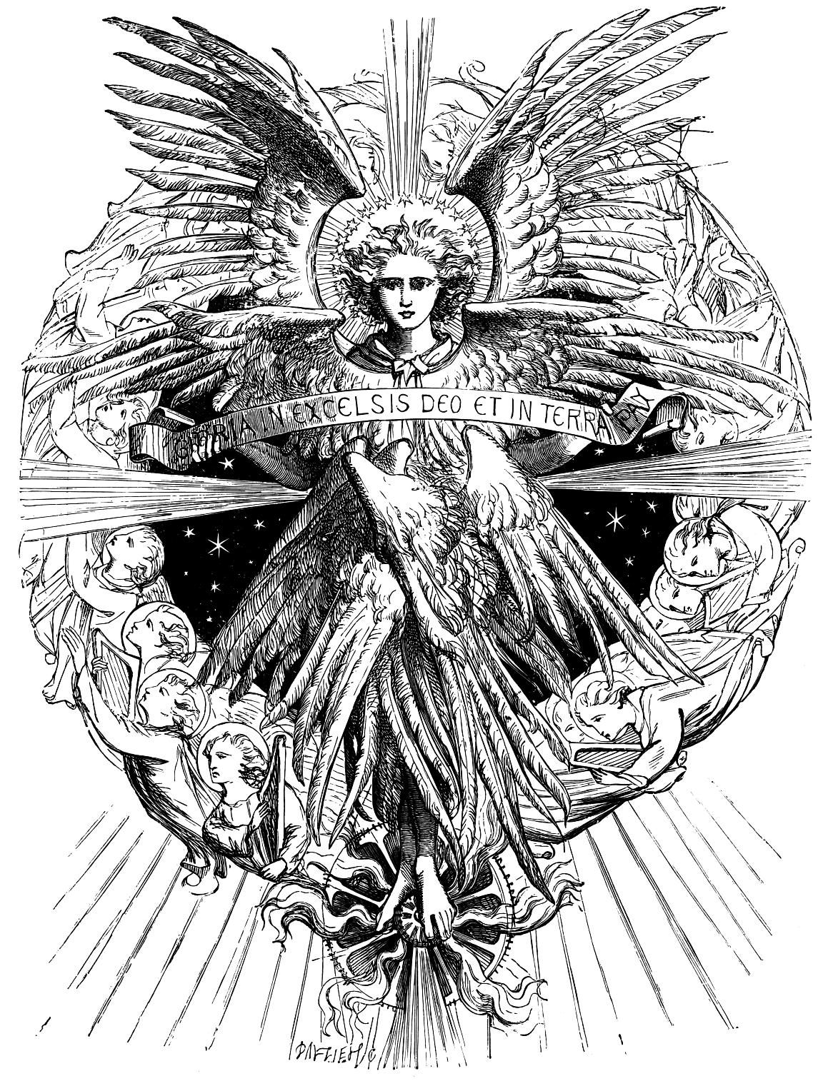 Gloria in excelsis deo clipart jpg free stock Angel with the words \