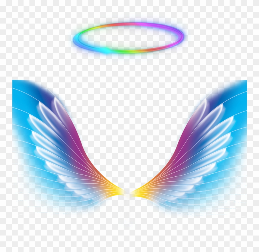Glowing angel halo clipart png black and white Angel Wings Halo Rainbow Colorful Galaxy Colorfulangel Clipart ... png black and white