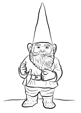 Gnome clipart black and white image royalty free Garden Gnome coloring page | Free Printable Coloring Pages image royalty free