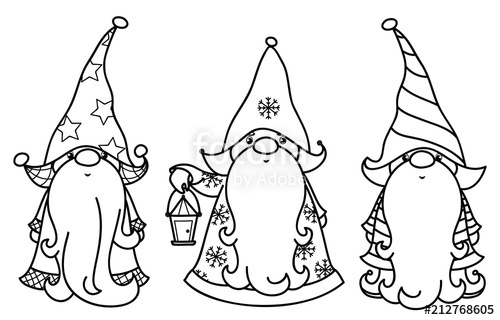 Gnome clipart black and white png royalty free stock Vector Christmas gnomes cartoons, black silhouettes isolated on ... png royalty free stock