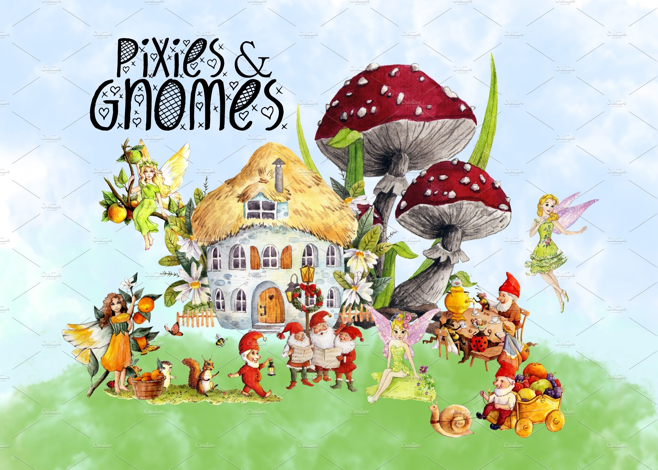 Gnomes clipart stock Pixies and Gnomes Clipart Images stock
