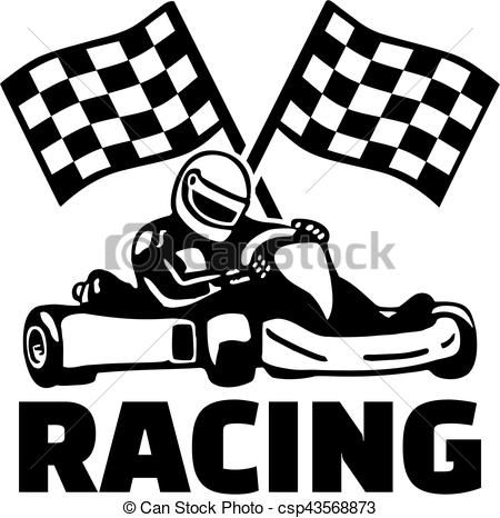 Go cart clipart black and white stock Goal flags and kart racing Vector - stock illustration, royalty free ... black and white stock