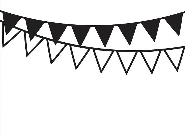 Go flag pendant black & white clipart png download Pennant Flag Clipart Black And White png download