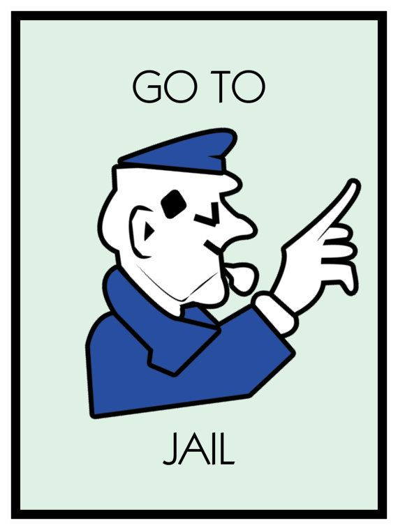 Go to jail clipart jpg freeuse stock Monopoly Poster Go to Jail Themed 18 x 24 by SweetestSaranade ... jpg freeuse stock