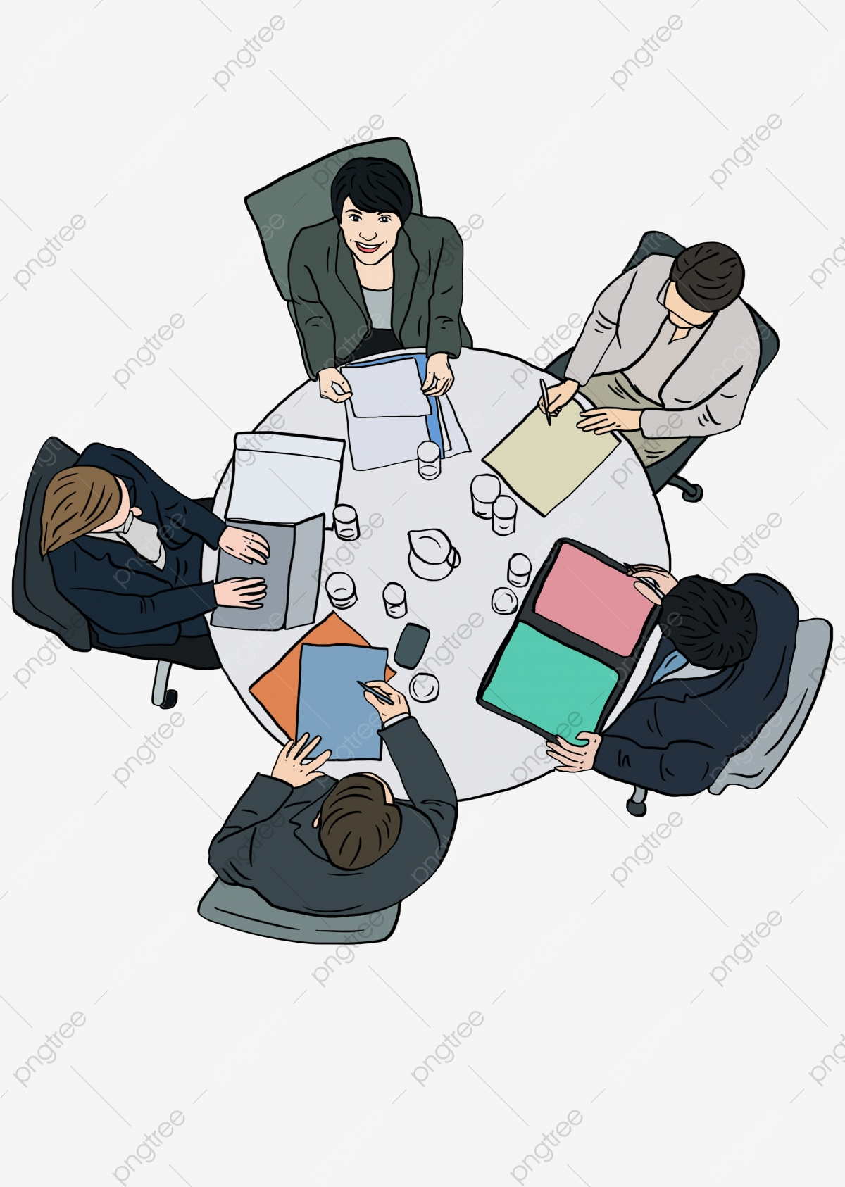 Hand Drawn Cartoon People At Work Meeting Hand Painted Cartoon Go To ... png black and white download