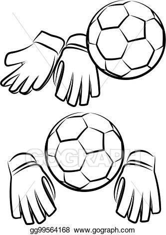 Goalie gloves clipart png freeuse library Vector Stock - Soccer or football goalkeeper gloves and ball ... png freeuse library