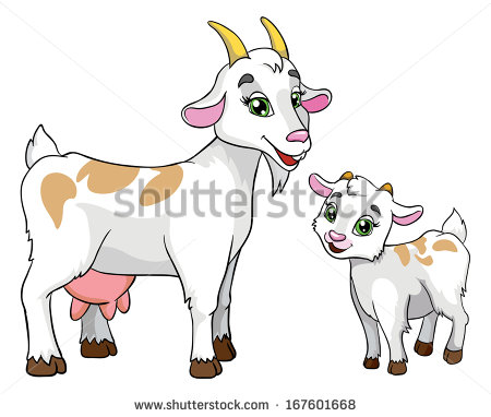 Goat with kids clipart