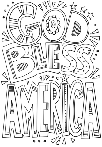 God bless america clipart black and white png black and white download God Bless America Doodle coloring page | Free Printable Coloring Pages png black and white download