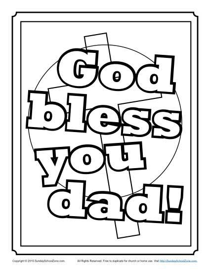 God bless our school clipart black and white image royalty free library God Bless You, Dad Coloring Page | Father\'s Day Activities | Sunday ... image royalty free library