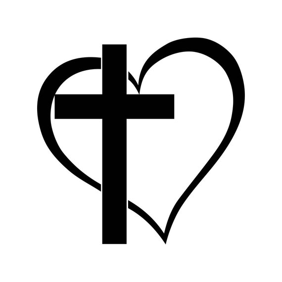 God cross clipart clip art black and white library Pin by Etsy on Products | Cross heart tattoos, Heart clip art, Cross ... clip art black and white library