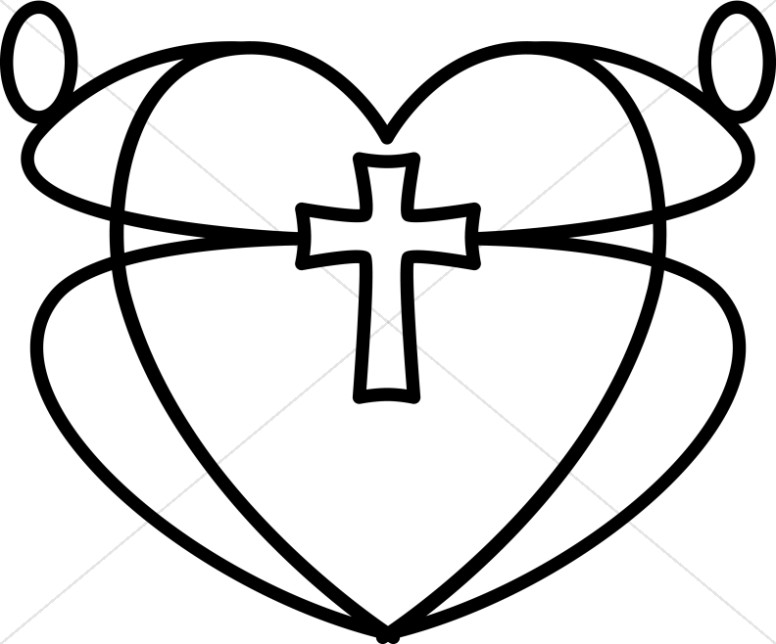 Valentine religious clipart black and white spanish picture royalty free stock Black and White Graphic Heart | Christian Heart Clipart picture royalty free stock
