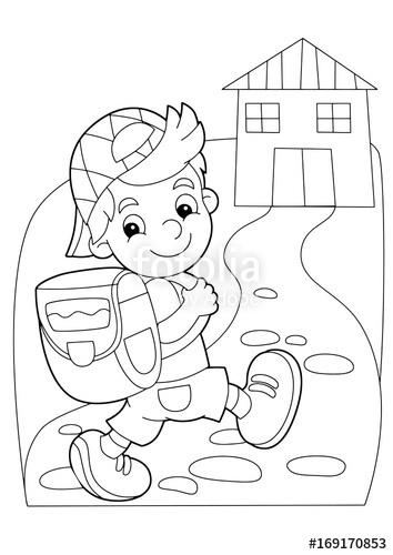 Going home from school clipart black and white picture royalty free library cartoon coloring page - boy going to school or getting back to home ... picture royalty free library