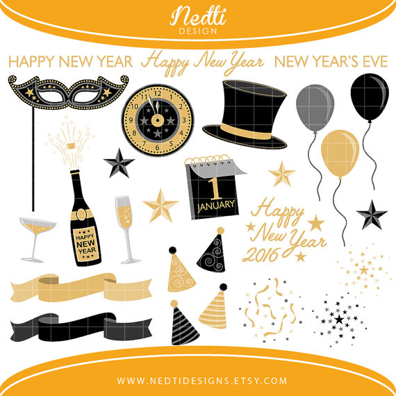Gold 2016 happy new year printables clipart png black and white stock 36 New Year's Eve Clipart Black and Gold Happy New Year png black and white stock