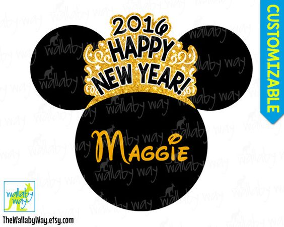 Gold 2016 happy new year printables clipart image black and white download Disney New Years Eve 2017 Printable Iron On Transfer or Use as ... image black and white download