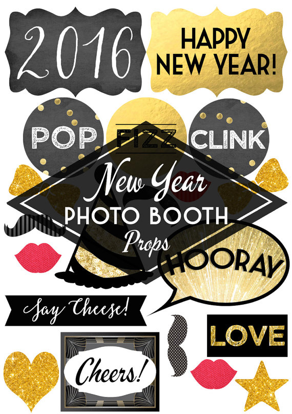 Gold 2016 happy new year printables clipart jpg free stock 2016 New Years Eve Photo Booth Props | Glitter 'N Spice jpg free stock