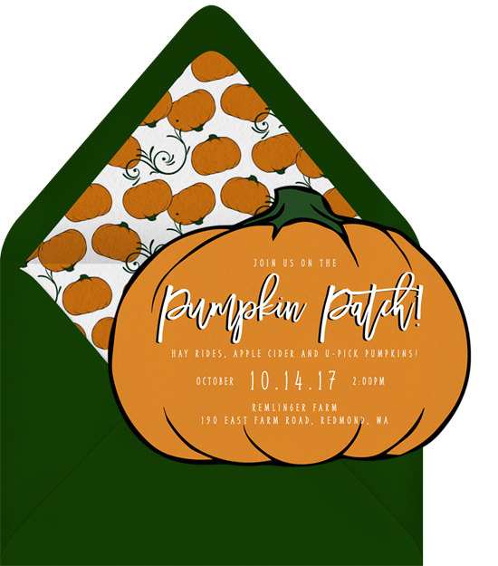 Gold and pink pumpkin clipart png freeuse stock Pumpkin Patch Invitations in Orange | Greenvelope.com png freeuse stock