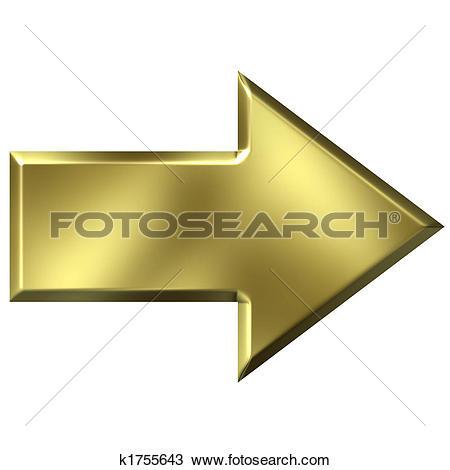 Gold arrow clipart clipart transparent download Clip Art of 3D Golden Arrow k1755162 - Search Clipart ... clipart transparent download