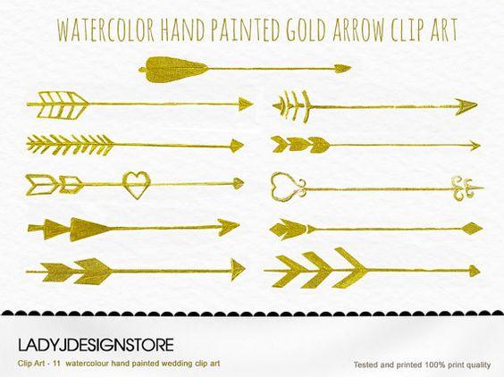 Gold arrow clipart clip art stock Watercolor Gold Clip Art - Hand Drawn Gold Metallic Glitter ... clip art stock