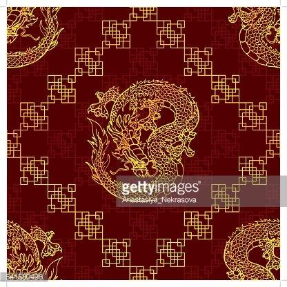 Gold asian clipart clip art transparent Seamless Pattern Cunning Gold Asian Dragon ON Red premium clipart ... clip art transparent