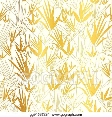 Gold asian clipart black and white library Vector Art - Vector gold on white asian bamboo leaves seamless ... black and white library