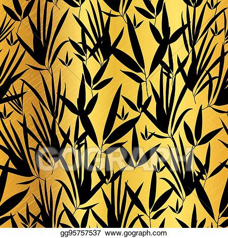 Gold asian clipart clipart download Vector Clipart - Vector gold and black asian bamboo leaves seamless ... clipart download