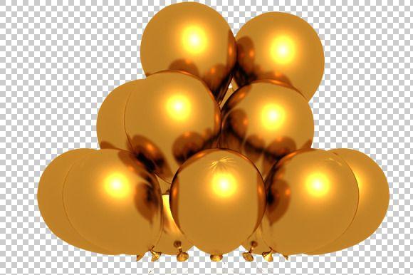 Gold balloons clipart transparent background png clipart transparent stock Golden Balloons - 3D Render PNG | Bakgrunder, Guld och Ballonger clipart transparent stock