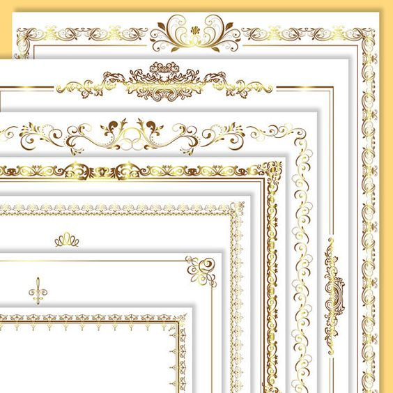 Gold block frames clipart svg freeuse library Page Borders Frames GOLD Wedding Digital Clip Art 8.5 x 11 ... svg freeuse library