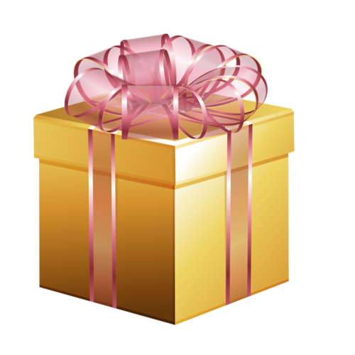 Gold box clipart vector transparent GOLD CHRISTMAS GIFT WITH PINK RIBBON CLIP ART | CLIP ART - CHRISTMAS ... vector transparent