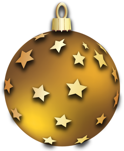 Gold christmas balls clipart image transparent library Transparent Gold Christmas Ball with Stars Ornament Clipart ... image transparent library