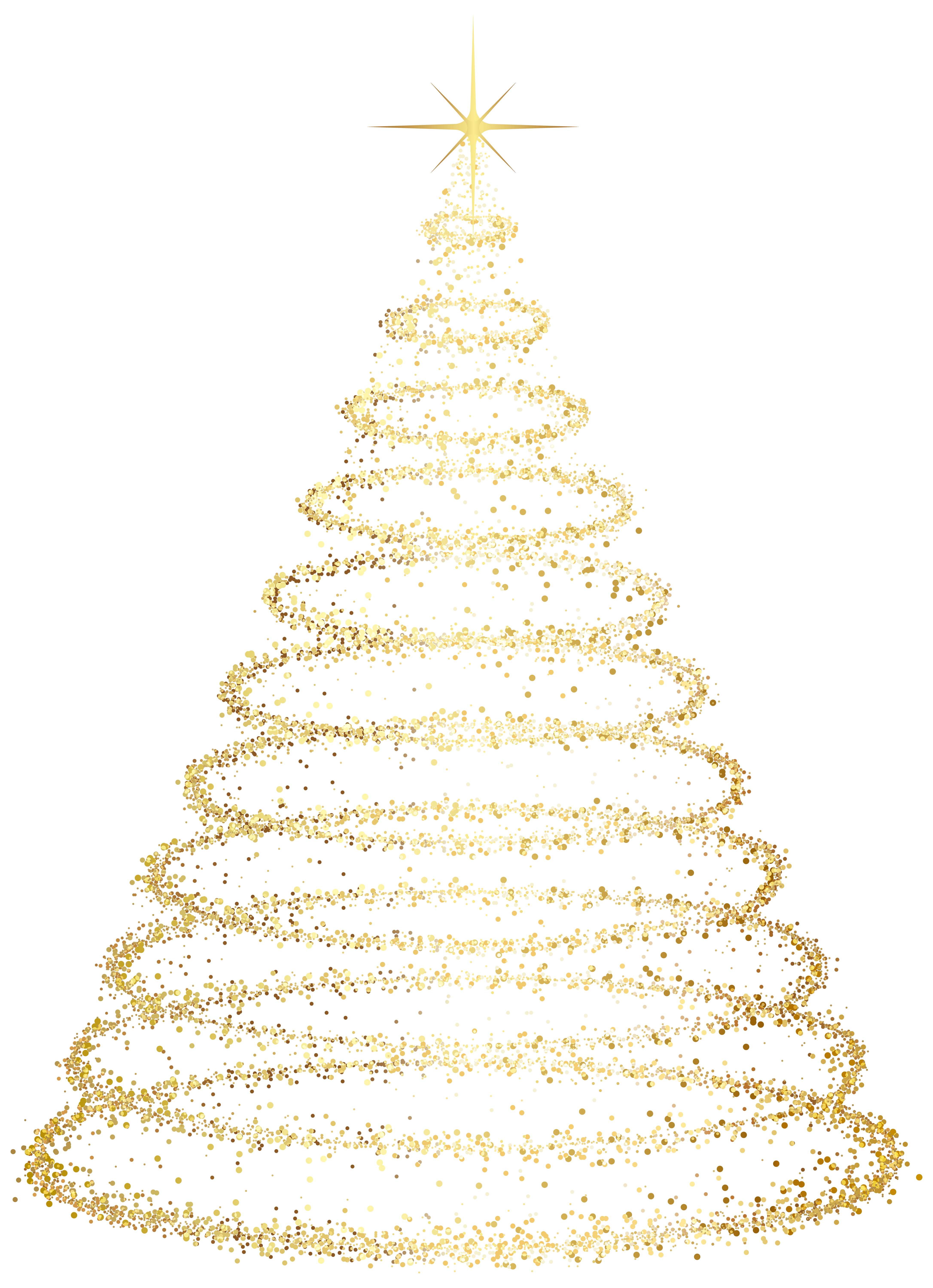 Gold christmas tree clipart vector free Gold Deco Christmas Tree Transparent Clip Art Image | Gallery ... vector free