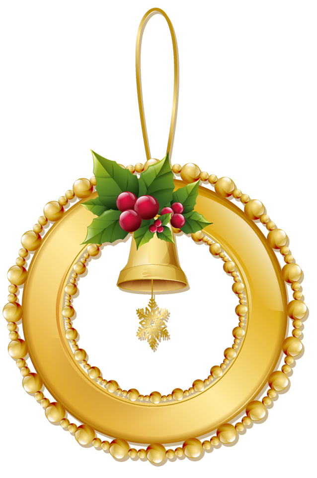 Gold christmas ornament clipart picture free library Christmas Gold Wreath with Bell PNG Ornament | Gallery Yopriceville ... picture free library