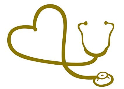 Gold clip art heart april 21 2018 clipart png royalty free stock Heart Stethoscope Car Window Decal (Gold, 6\