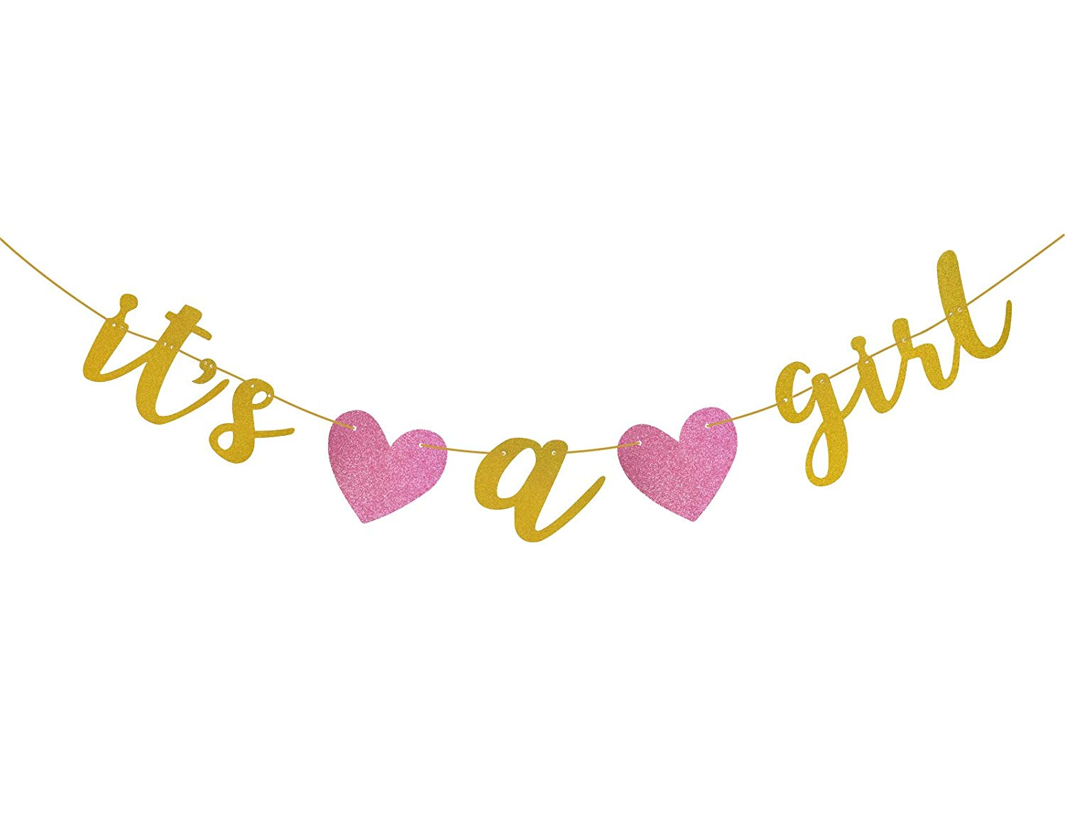 Gold clip art heart april 21 2018 clipart graphic transparent library Famoby Gold Glittery It\'s a Girl Banner for Baby Shower Party Decorations graphic transparent library