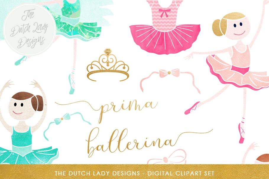 Gold clip art heart april 21 2018 clipart picture transparent download Ballerina & Ballet Clipart Set ~ Illustrations ~ Creative Market picture transparent download