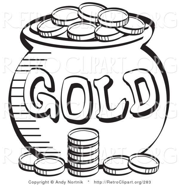 Gold clipart black and white image royalty free Pot Of Gold Clipart Black And White | Free download best Pot Of Gold ... image royalty free